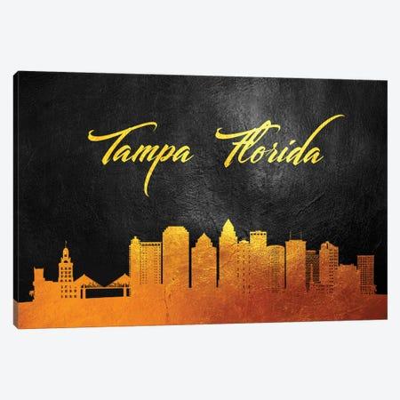 Tampa Florida Gold Skyline Canvas Print #ABV401} by Adrian Baldovino Art Print