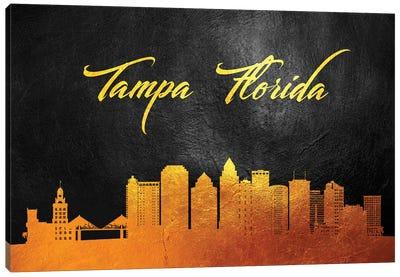 Tampa Florida Gold Skyline Canvas Art Print
