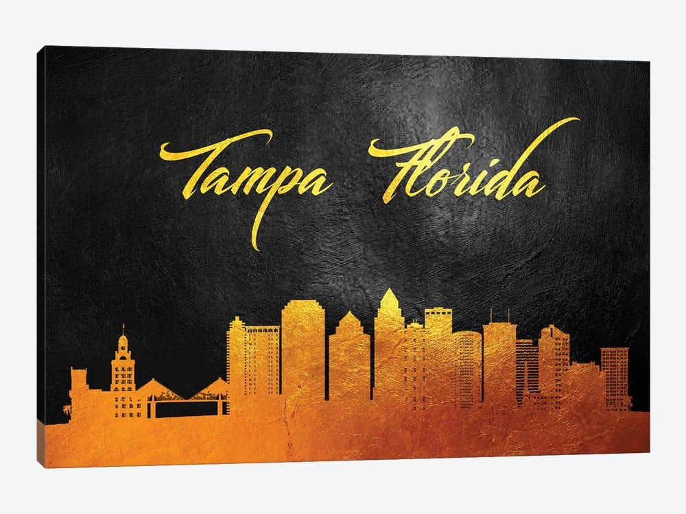 Tampa Florida Gold Skyline by Adrian Baldovino 1-piece Canvas Artwork