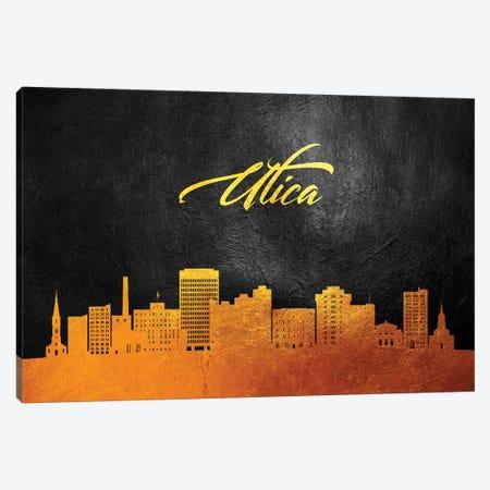 Utica New York Gold Skyline Canvas Print #ABV402} by Adrian Baldovino Canvas Art Print