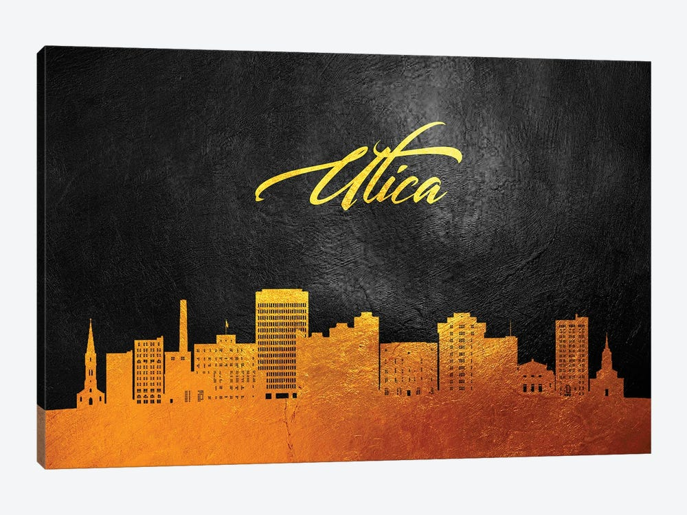 Utica New York Gold Skyline by Adrian Baldovino 1-piece Canvas Print