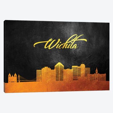 Wichita Kansas Gold Skyline Canvas Print #ABV404} by Adrian Baldovino Canvas Wall Art