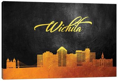 Wichita Kansas Gold Skyline Canvas Art Print