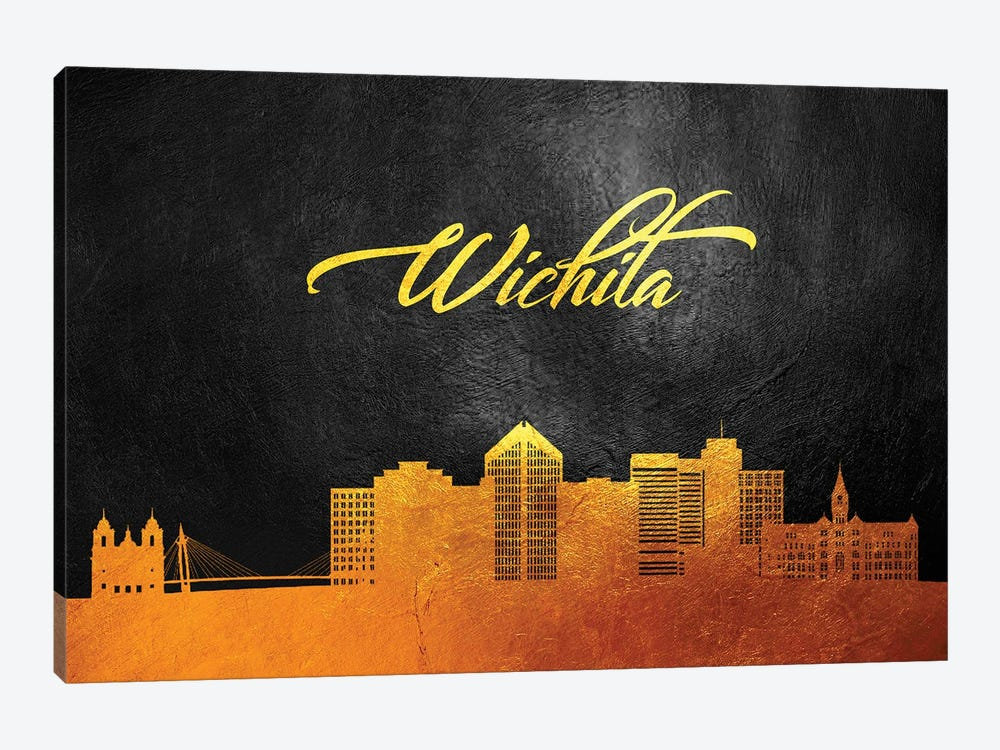Wichita Kansas Gold Skyline by Adrian Baldovino 1-piece Art Print