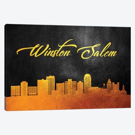 Winston-Salem North Carolina Gold Skyline Canvas Print #ABV405} by Adrian Baldovino Canvas Artwork
