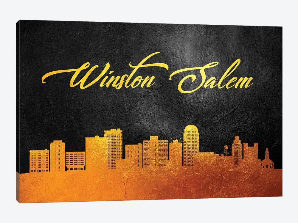 Winston-Salem North Carolina Gold Skyline by Adrian Baldovino 1-piece Canvas Art
