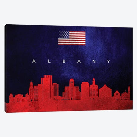Albany New York Skyline Canvas Print #ABV406} by Adrian Baldovino Canvas Art