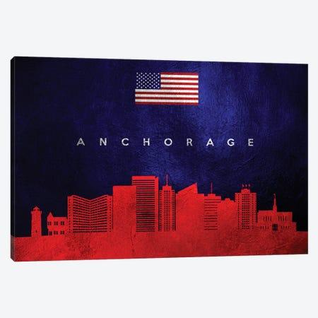 Anchorage Alaska Skyline Canvas Print #ABV409} by Adrian Baldovino Art Print
