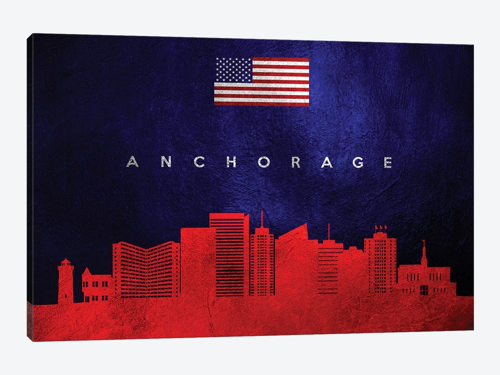 Anchorage Alaska Skyline by Adrian Baldovino 1-piece Canvas Artwork