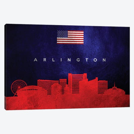 Arlington Texas Skyline Canvas Print #ABV411} by Adrian Baldovino Canvas Artwork
