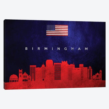 Birmingham Alabama Skyline Canvas Print #ABV417} by Adrian Baldovino Canvas Art Print