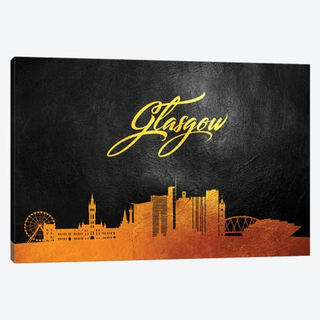 Glasgow Scotland Gold Skyline Canvas Print #ABV41} by Adrian Baldovino Canvas Art