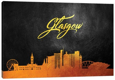 Glasgow Scotland Gold Skyline Canvas Art Print
