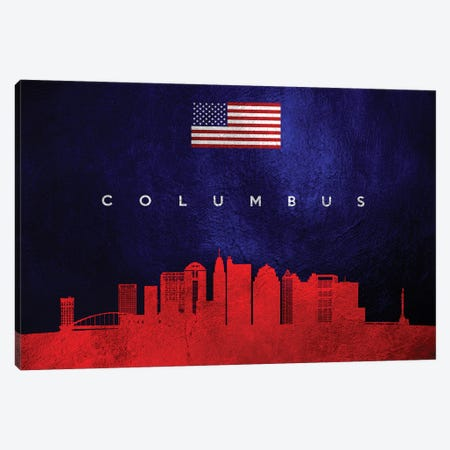 Columbus Ohio Skyline Canvas Print #ABV428} by Adrian Baldovino Art Print