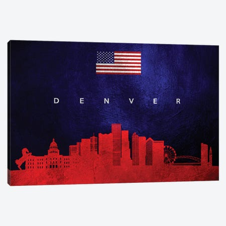 Denver Colorado Skyline Canvas Print #ABV429} by Adrian Baldovino Art Print