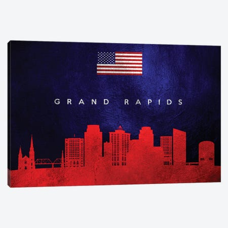 Grand Rapids Michigan Skyline Canvas Print #ABV42} by Adrian Baldovino Canvas Artwork