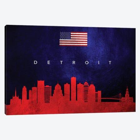 Detroit Michigan Skyline Canvas Print #ABV430} by Adrian Baldovino Canvas Wall Art