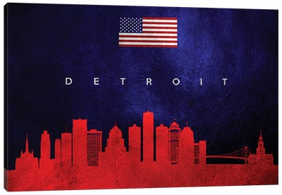Detroit Michigan Skyline Canvas Art Print