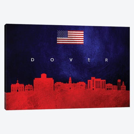 Dover Delaware Skyline Canvas Print #ABV431} by Adrian Baldovino Canvas Artwork