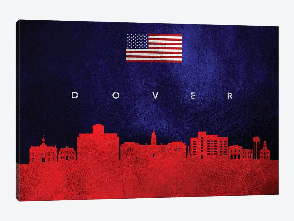 Dover Delaware Skyline by Adrian Baldovino 1-piece Canvas Art Print