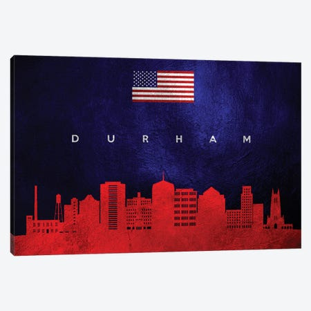 Durham North Carolina Skyline Canvas Print #ABV432} by Adrian Baldovino Canvas Artwork