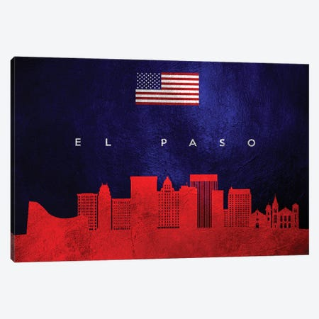 El Paso Texas Skyline Canvas Print #ABV433} by Adrian Baldovino Canvas Art