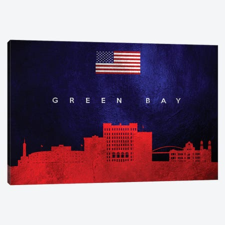 Green Bay Wisconsin Skyline Canvas Print #ABV434} by Adrian Baldovino Canvas Print