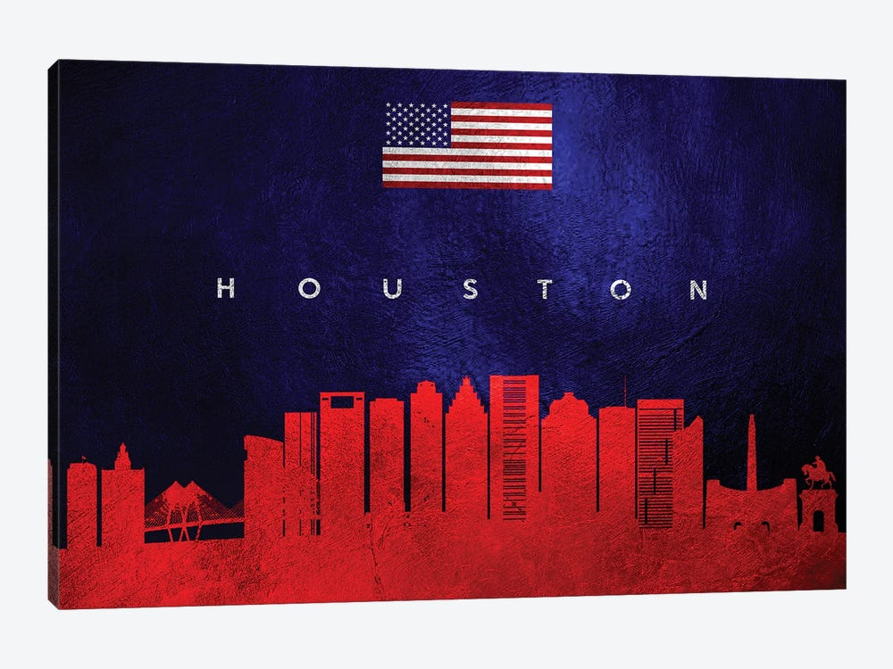 Houston Texas Skyline by Adrian Baldovino 1-piece Canvas Artwork