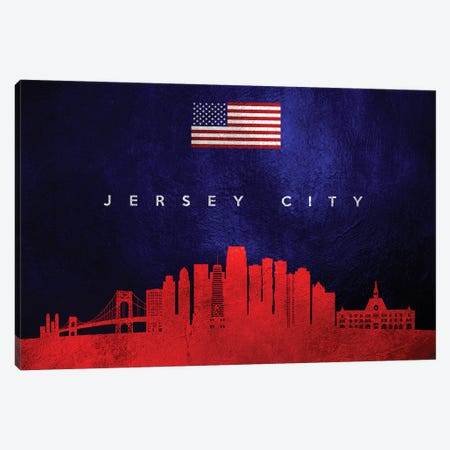 Jersey City New Jersey Skyline Canvas Print #ABV439} by Adrian Baldovino Canvas Artwork