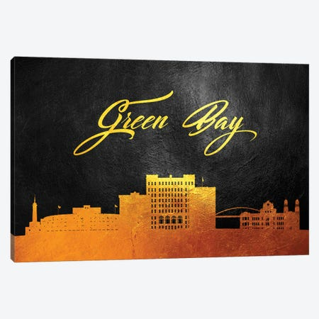 Green Bay Wisconsin Gold Skyline Canvas Print #ABV43} by Adrian Baldovino Canvas Artwork