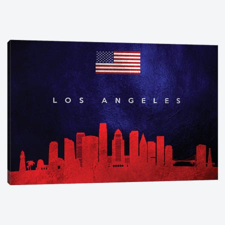 Los Angeles California Skyline Canvas Print #ABV442} by Adrian Baldovino Canvas Art Print