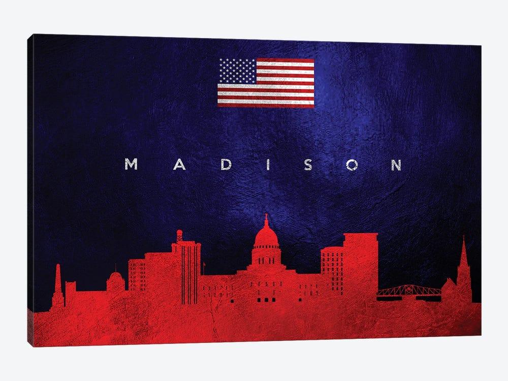 Madison Wisconsin Skyline by Adrian Baldovino 1-piece Canvas Wall Art