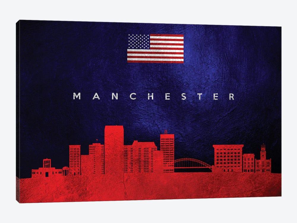 Manchester New Hampshire Skyline by Adrian Baldovino 1-piece Art Print
