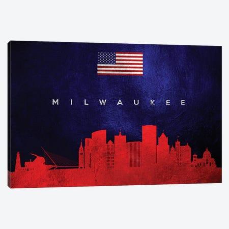 Milwaukee Wisconsin Skyline Canvas Print #ABV447} by Adrian Baldovino Canvas Artwork