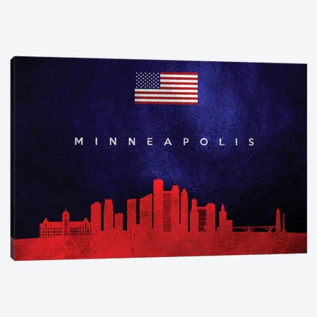 Minneapolis Minnesota Skyline Canvas Print #ABV448} by Adrian Baldovino Canvas Art Print