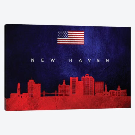 New Haven Connecticut Skyline Canvas Print #ABV451} by Adrian Baldovino Canvas Art