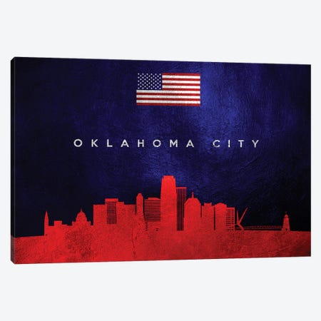 Oklahoma City Skyline 2 Canvas Print #ABV457} by Adrian Baldovino Canvas Print