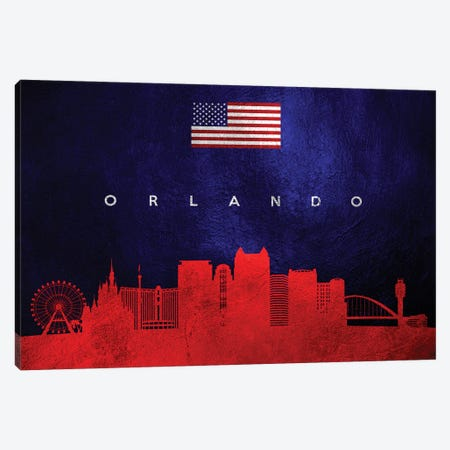 Orlando Florida Skyline Canvas Print #ABV458} by Adrian Baldovino Canvas Artwork