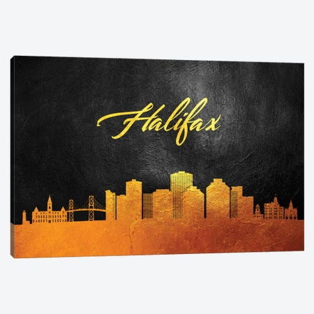Halifax Canada Gold Skyline Canvas Print #ABV45} by Adrian Baldovino Art Print