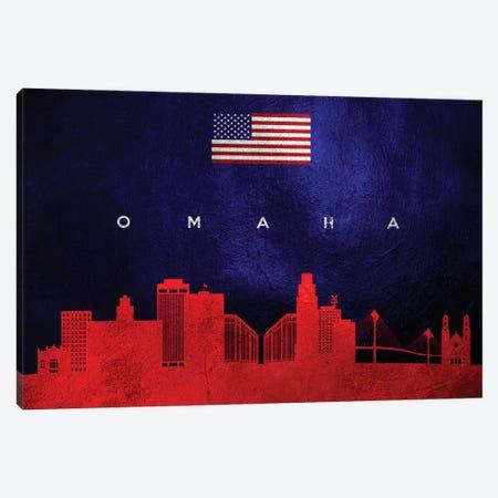Omaha Nebraska Skyline 2 Canvas Print #ABV462} by Adrian Baldovino Art Print