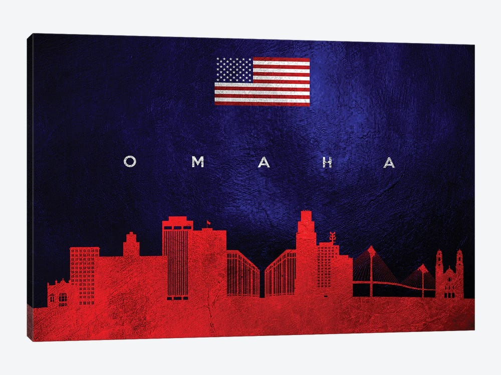 Omaha Nebraska Skyline 2 by Adrian Baldovino 1-piece Art Print