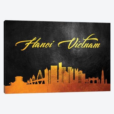 Hanoi Vietnam Gold Skyline Canvas Print #ABV46} by Adrian Baldovino Canvas Art Print