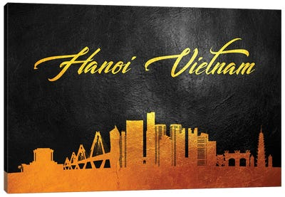 Hanoi Vietnam Gold Skyline Canvas Art Print