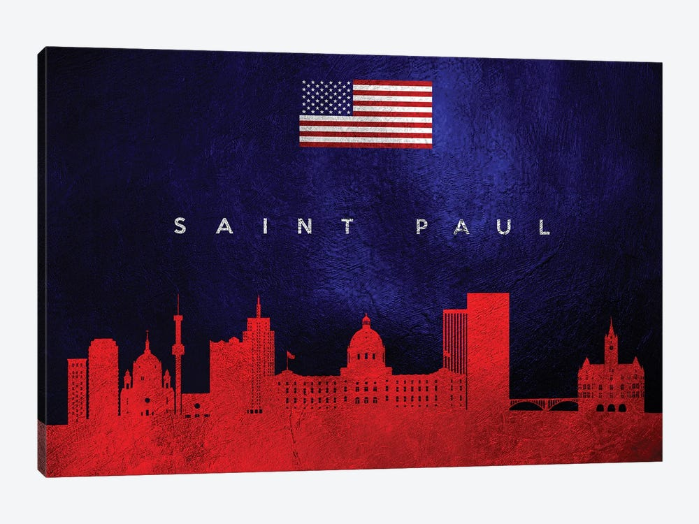 Saint Paul Minnesota Skyline by Adrian Baldovino 1-piece Canvas Art