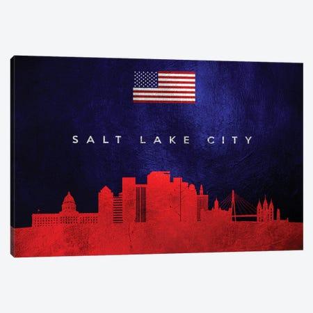 Salt Lake City Utah Skyline Canvas Print #ABV471} by Adrian Baldovino Canvas Art