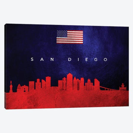 San Diego California Skyline Canvas Print #ABV473} by Adrian Baldovino Canvas Wall Art