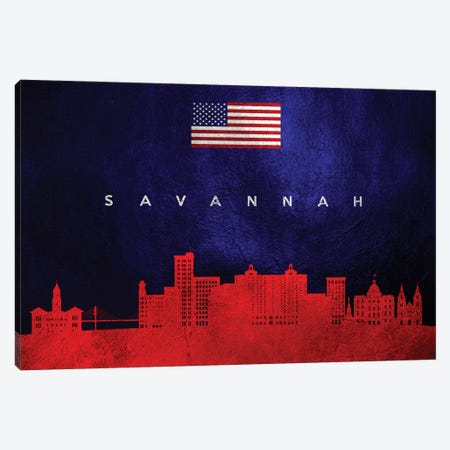 Savannah Georgia Skyline Canvas Print #ABV476} by Adrian Baldovino Canvas Art Print