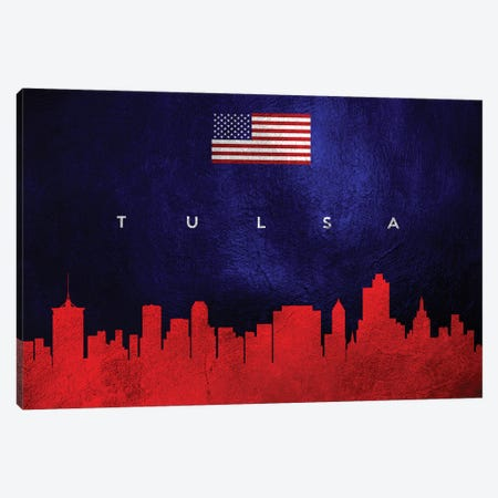 Tulsa Oklahoma Skyline Canvas Print #ABV482} by Adrian Baldovino Canvas Art Print