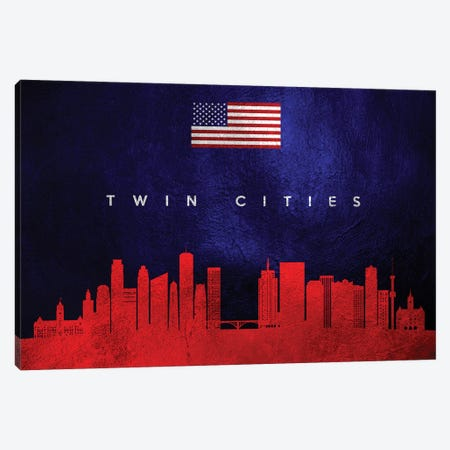 Twin Cities Minnesota Skyline Canvas Print #ABV484} by Adrian Baldovino Canvas Art