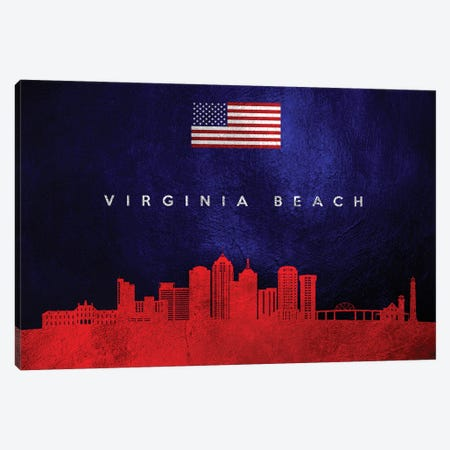 Virginia Beach Skyline 2 Canvas Print #ABV487} by Adrian Baldovino Canvas Wall Art